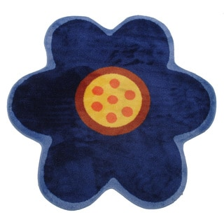 Novelty Blue Poppy Accent Rug (3'2 x 3'2)