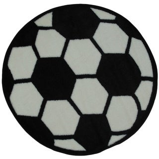 """Kids' Soccerball Accent Rug - 3'2"""" Round"""