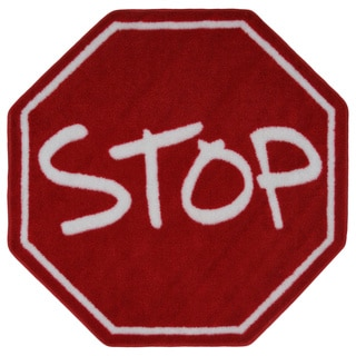 Kids' Red Stop Sign Accent Rug (3'2 Round)