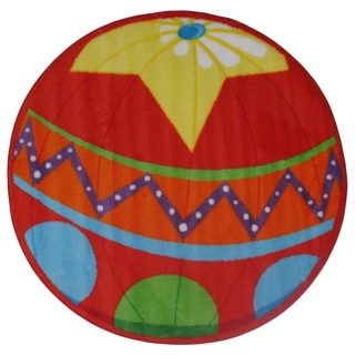 Kids Red Circus Ball Accent Rug (3'2 x 3'2)