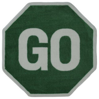 "Kids' Novelty Green Go Sign Accent Rug - 3'2"" x 3'2"""