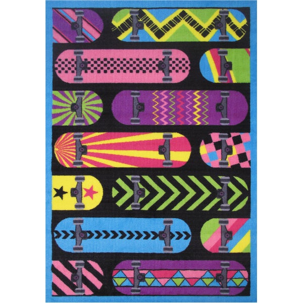 Gnarly Surf Boards Black Accent Rug
