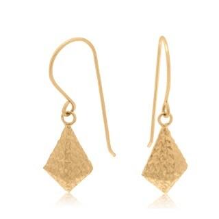 Gioelli 14k Gold Star Diamond-cut Puff Bead Dangle Earrings