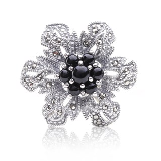 Blue Box Jewels Sterling Silver Pear-cut Onyx and Marcasite Flower Brooch/ Pendant