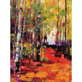 Large Printed 'Prism Trees' Framed Gallery-wrapped Canvas Art