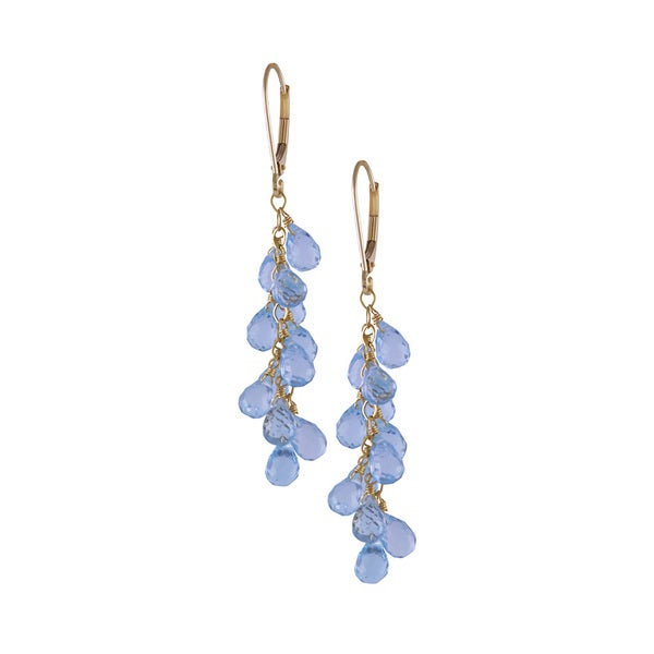 14k Yellow Gold Faceted Blue Topaz Dangle Earrings