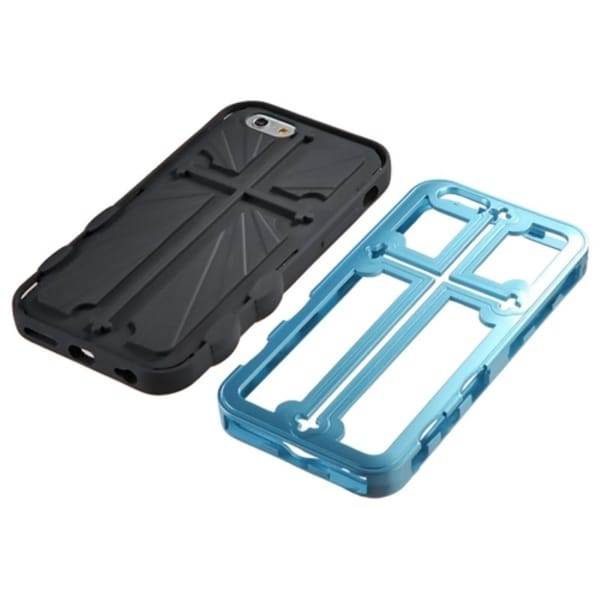 INSTEN Metallic Sky Blue Black Cross Hybrid Protector Cover For iPhone 6
