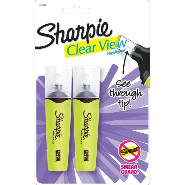 Sharpie Clear View Highlighters 2/Pkg-Yellow