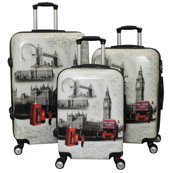 world traveler london 3 piece hardside lightweight spinner luggage set
