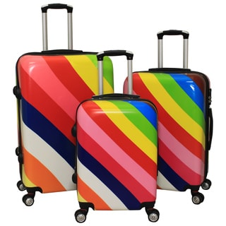 World Traveler Rainbow Diagonal Stripes 3-piece Hardside Spinner Luggage Set with Combination Lock