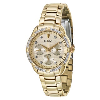 Bulova Women's 'Maribor' Yellow Goldplated Stainless Steel Diamond Quartz Chronograph Watch