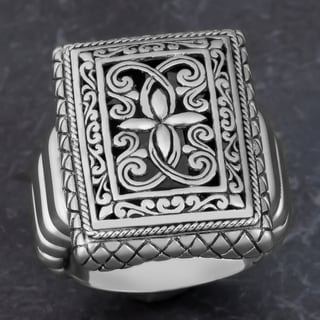 Sterling Silver 'Deep Forest' Cawi Ring (Indonesia)