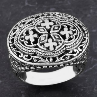 Sterling Silver 'Bali Blossoms' Cawi Ring (Indonesia)