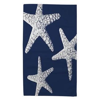 Thumbprintz Nautical Nonsense White Blue Starfish Rug (2' x 3')