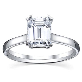14k White Gold 1ct TDW Emerald Cut Diamond Solitaire Engagement Ring (H-I, SI1-SI2)