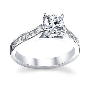 14k White Gold 7/8ct TDW Certified Diamond Engagement Ring (I-J, SI3)