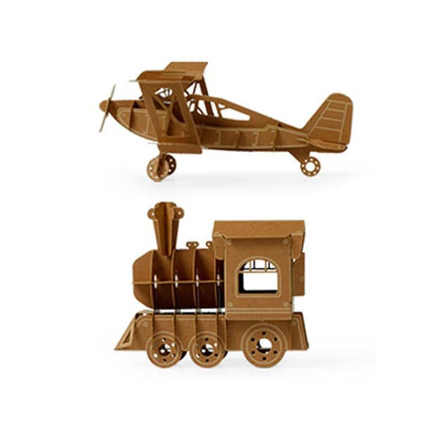 Papero Brown Mini Bi-plane and Train Assemblage Model Kit