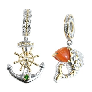Michael Valitutti Two-tone Palladium Silver 'Fish' and 'Anchor' Charm Set