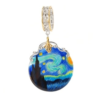 Michael Valitutti Palladium Silver Hand-painted Starry Night Shell Charm
