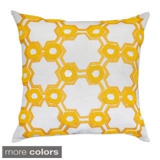 Hand Crafted Hexagon Pattern Embroidered Decorative 20-inch Throw Pillow