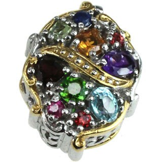 Michael Valitutti Palladium Silver Multi-gemstone Charm