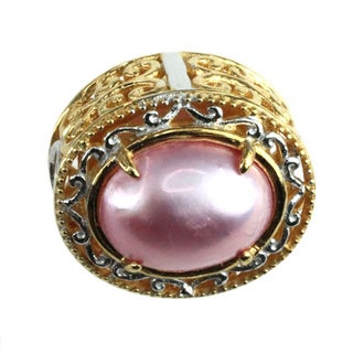 Michael Valitutti Palladium Silver Pink Mabe Charm (10 mm)