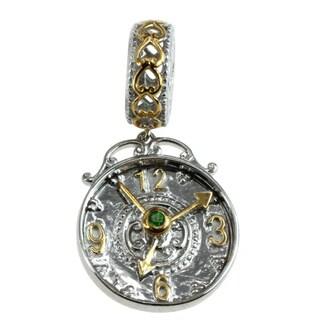 Michael Valitutti Palladium Silver Chrome Diopside Clock Charm
