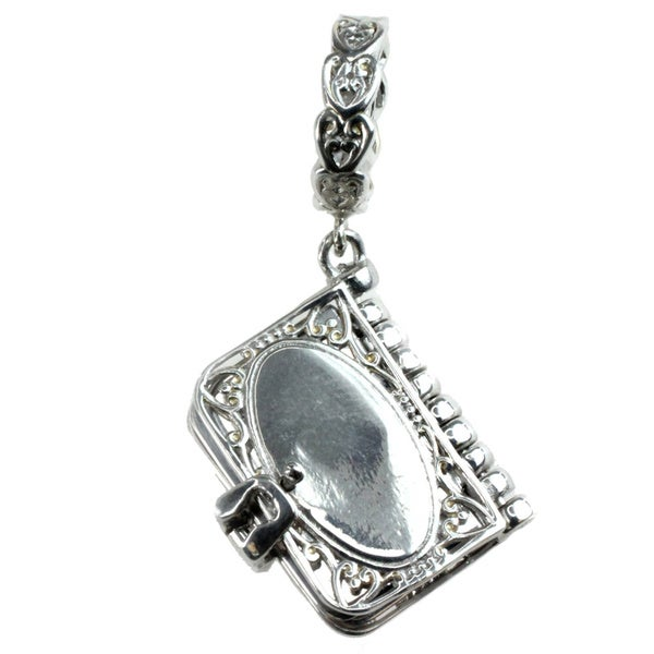 Michael Valitutti Palladium Silver Engravable Book Charm