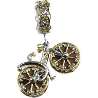 Michael Valitutti Silver Tigers Eye Bicycle Charm with Moving Wheels