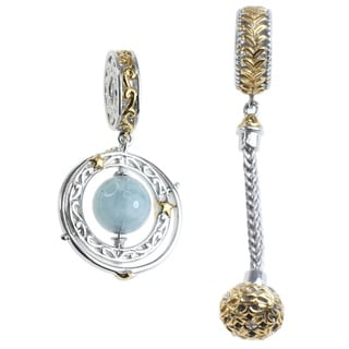 Michael Valitutti Two-Tone Palladium Silver Aquamarine 'Galaxy' Hanging Charm Set