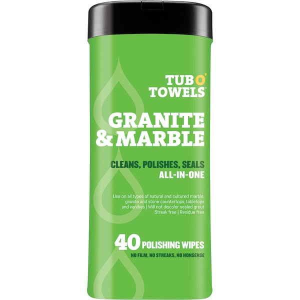 "Tub O' Towels 7""X8"" 40/Pkg-Heavy Duty Granite & Marble Wipes"