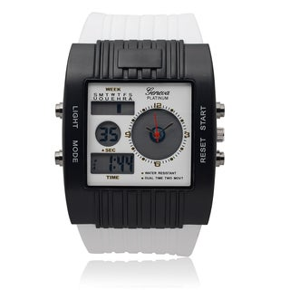 Geneva Platinum Men's SW-2861-1 Dual Time Silicone Band Watch