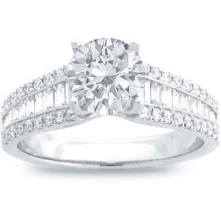 14k White Gold 1 1/5ct TDW Round Center Baguette-cut Side Stone Engagement Ring (G-H, SI1-SI2)