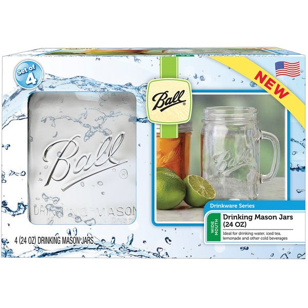 Ball Drinking Mug 24-ounce Wide Mouth Jars (Set of 4)