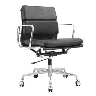 Tre Office Chair In Black Italian Leather