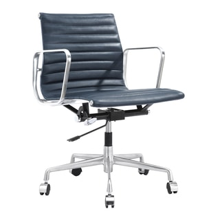 Quattro Modern Office Chair in Navy Blue Italian Leather
