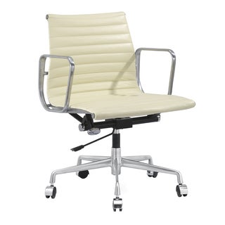 Quattro Modern Office Chair in Cream Italian Leather