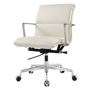 Nove Modern Office Chair in White Italian Leather