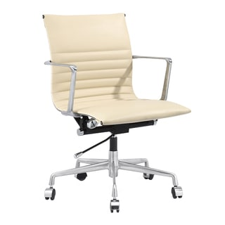 Nove Modern Office Chair in Cream Italian Leather