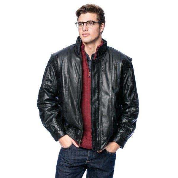 Wilda Men's Classic Leather Bomber Jacket 14230708