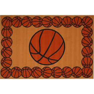 "Basketball Time Orange Accent Rug - 3'3"" x 4'8"""