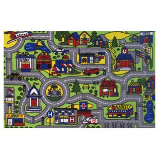 Driving Time Green Accent Rug (4'3 x 6'5)
