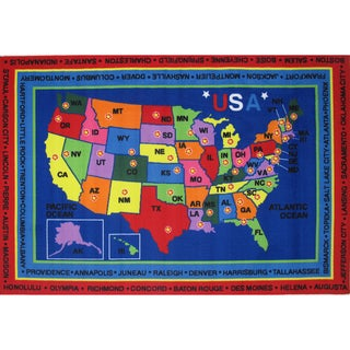 State Capitals Blue Accent Rug (5'3 x 7'6)
