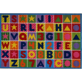 Machine-Made Numbers and Letters Multi-colored Nylon Accent Rug (5'3 x 7'6)