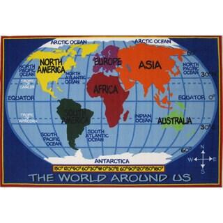 Kids World Map Blue Accent Rug (5'3 x 7'6)