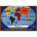 Kids World Map Blue Accent Rug (5'3 x 7'6)