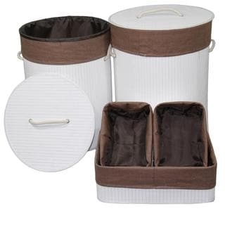 5-piece Round Folding Bamboo Laundry Basket and Tray Set