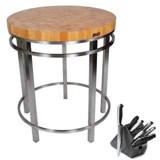John Boos Metropolitan Oasis Island Kitchen Table with Bonus 13 Piece Henckels Knife Set