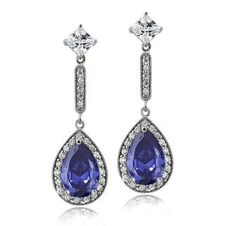 Icz Stonez Sterling Silver 7 7/8ct TGW Blue Cubic Zirconia Teardrop Dangle Earrings