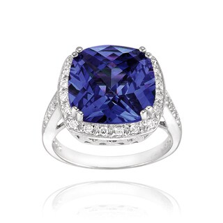 Icz Stonez Sterling Silver 9 7/8ct TGW Blue Cubic Zirconia Square Ring